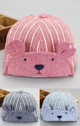 หมวกแก๊ปหน้าหมีผ้าฝ้ายลายทาง ปีกหมวกโครงอ่อนพับได้