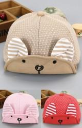 หมวกแก๊ปกระต่ายลายจุดแต่งหูลายขวาง