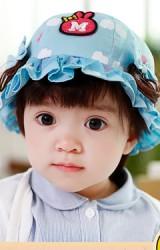 หมวกสาวน้อยสีฟ้า ด้านข้างแต่งโบว์และปอยผมเล็ก TUTUYA
