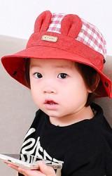 หมวกบัคเก็ตตัวหมวกลายตารางปีกหมวกสีพื้นแต่งหูกระต่าย