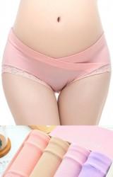 กางเกงในคนท้องเอวต่ำขอบลูกไม้กล่อง 4 ตัว 4 สี
