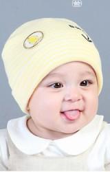 หมวกเด็กบีนนี่ลายขวางแต่งลูกเจี๊ยบ สกรีนอักษร BABY จาก GZMM