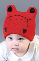หมวกเด็กบีนนี่พับขอบลายหน้าหมีน้อย จาก GZMM