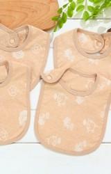 ผ้ากันเปื้อนเด็กผ้าฝ้าย jacquard สีเบจลายน่ารัก ลายเอฟล์และลายหมู