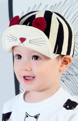 หมวกแก๊ปลายทางใหญ่สลับครีมปีกปักหน้าแมวน้อยแต่งหู KUKUJI