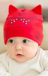 หมวกผ้ายืดเด็กเล็กสกรีนหน้าแมวน้อยผูกโบว์จุดจาก GZMM