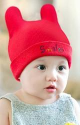หมวกไหมพรมหูตั้งพับขอบปัก Smile จาก GZMM