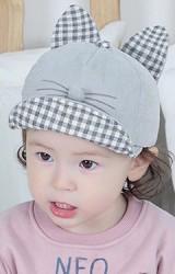 หมวกแก๊ปกระต่ายผ้าลูกฟูกหูตั้งลายตาราง