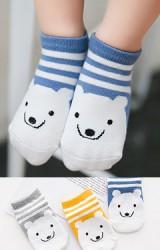 เซ็ตถุงเท้าเด็กแพ็ค 3 คู่ ลายขวางหน้าหมีน้อย  สีเทา เหลือง น้ำเงิน