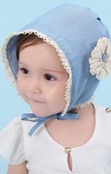 หมวกบอนเนตสียีนส์แต่งดอกไม้และขอบลูกไม้สีครีม