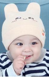หมวกไหมพรมหูกระต่ายหน้ายิ้ม