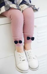 กางเกงเลคกิ้งเด็กปลายขาแต่งโบว์เล็ก