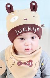 เซ็ตหมวกเด็กเล็กลายเจ้าตูบสกรีน lucky พร้อมผ้ากันเปื้อน จาก TIANYIBEAR