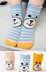 เซ็ตถุงเท้าเด็กแพ็ค 3 คู่ ลายหน้าหมีน้อย สีเบจ เหลือง และ ฟ้า