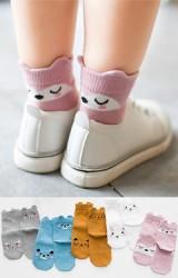 เซ็ตถุงเท้าเด็กแพ็ค 5 คู่ ลายหน้าสัตว์น่ารักด้านหน้าและหลัง