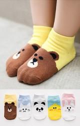 เซ็ตถุงเท้าเด็กแพ็ค 5 คู่ ลายหมี แมว แพนด้า เป็ดเหลืองและกระต่าย