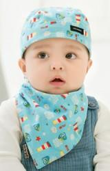 เซ็ตหมวกเด็กโจรสลัดมาพร้อมผ้ากันเปื้อนลายนกและจรวด GZMM