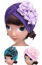 หมวกอินเดียด้านข้างแต่งดอกไม้คู่