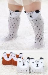 ถุงเท้าเด็กลายหน้าจิ้งจอกแบบข้อยาว มีกันลื่น Kacakid