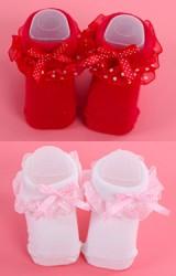 ถุงเท้าเด็กหญิงขอบระบายลายจุดแต่งโบว์เล็กน่ารัก