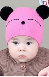 หมวกไหมพรมหมีน้อยแต่งหูปอมปอม TIANYIBEAR