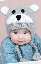 หมวกไหมพรมหมีน้อยแต่งเปียห้อยผูกคาง