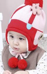 หมวกไหมพรมแต่งตุ๊กตาหมีน่ารัก