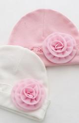 หมวกสาวน้อยแรกเกิดรอบระบายแต่งดอกไม้หวาน