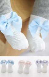 เซ็ตถุงเท้าเด็กหญิงแต่งโบว์หวานแพ็ค 3 คู่ แบบข้อสั้น มีกันลื่น