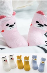 ถุงเท้าเด็กแบบหนาลายสัตว์น่ารัก 3 คู่ 3 ลาย