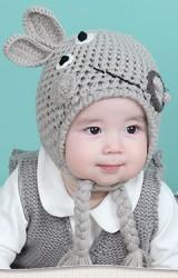 หมวกไหมพรมกระต่ายน้อยแต่งเปียน่ารัก