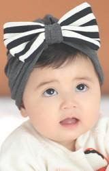หมวกสาวน้อยแต่งโบว์ใหญ่ลายทาง Angel Neitiri