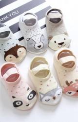ถุงเท้าเด็กแบบหนาลายหน้าสัตว์น่ารัก มีสายยืดคาด เซ็ต 2 คู่