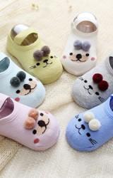 ถุงเท้าเด็กแบบหนาลายหมีแต่งปอมปอม มีสายยืดคาด เซ็ต 2 คู่