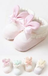 ถุงเท้าเด็กหญิงแต่งหูกระต่ายและโบว์กล่อง 2 คู่