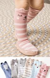 ถุงเท้าเด็กหัดเดินแบบยาวลายหน้าสัตว์น่ารัก