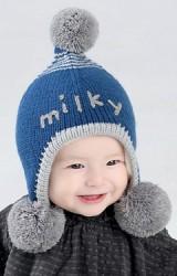 หมวกไหมพรม milky แต่งปอมปอม
