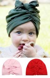 หมวกสาวน้อยด้านหน้าจีบย่นแต่งโบว์ใหญ่