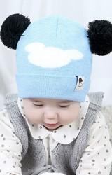 หมวกบีนนี่ลายมิกกี้แต่งหูปอมปอม  TIANYIBEAR