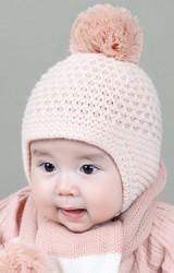 หมวกไหมพรมเด็กทอลายสวยด้านบนแต่งปอมปอม