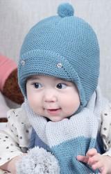 หมวกไหมพรมเด็กด้านด้านหน้าพับแต่งกระดุม มีเชือกผูกใต้คาง