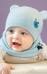 เซ็ตหมวกบีนนี่หมีน้อยแต่งหูน่ารักมาพร้อมผ้าสวมคอ GZMM