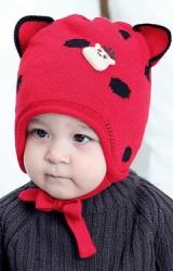 หมวกไหมพรมเด็กลายจุดหูแหลมแต่งการ์ตูนกวาง TIANYIBEAR