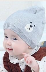 หมวกบีนนี่ปักหน้าหมีน้อยหูตั้ง