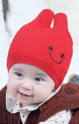 หมวกบีนนี่เด็กปักปากยิ้มรูปดาวหูตั้ง