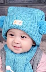 หมวกไหมพรมเด็กพับขอบแต่งปอมปอมข้าง  TIANYIBEAR
