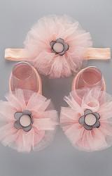 เซ็ตถุงเท้าเด็กแต่งดอกไม้ผ้าโปร่งฟูสวยมาพร้อมสายคาดผม
