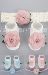 เซ็ตถุงเท้าเด็กแต่งดอกไม้หวานและใบไม้มาพร้อมสายคาดผม