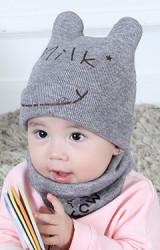 เซ็ตหมวกไหมพรมพร้อมผ้าสวมคอ Milk