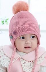 หมวกไหมพรมเด็กด้านหน้าแต่งปอมคู่เล็กๆ ด้านข้างแต่งหูน่ารัก